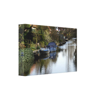 A Dutch canal Stretched Canvas Prints