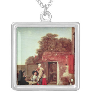 A Dutch Courtyard, c.1658-60 Silver Plated Necklace