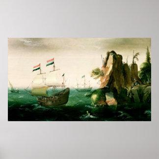 A Dutch Merchant Ship off a Rocky Coast Poster
