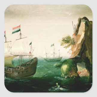 A Dutch Merchant Ship off a Rocky Coast Stickers