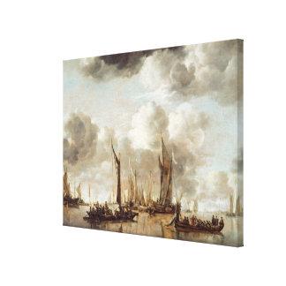 A Dutch Yacht Firing a Salute Canvas Print