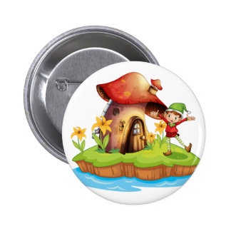 A dwarf outside a mushroom house 6 cm round badge