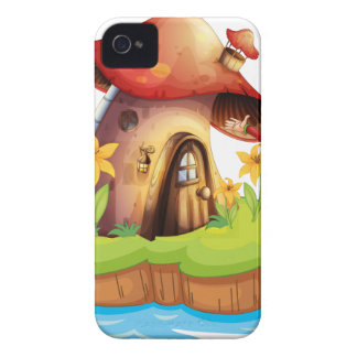 A dwarf outside a mushroom house Case-Mate iPhone 4 cases