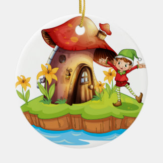A dwarf outside a mushroom house christmas ornament