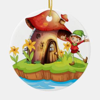 A dwarf outside a mushroom house round ceramic decoration
