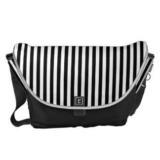 A Elegant Black and White Modern Stripes Messenger Bags