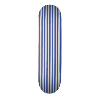 A Elegant Blue and White Nautical Stripes Skate Board