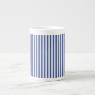 A Elegant Blue and White Nautical Stripes Bone China Mug