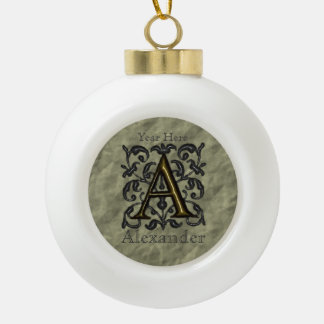 A - Embossed Vintage Monogram Ceramic Ball Decoration