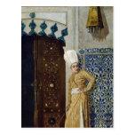 A eunuch before the door of the harem post card