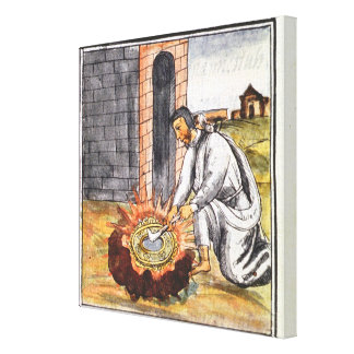 A European engaged in making a reliquary Canvas Print