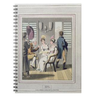 A European Lady, attended by a servant, using a ha Notebook