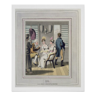 A European Lady, attended by a servant, using a ha Poster
