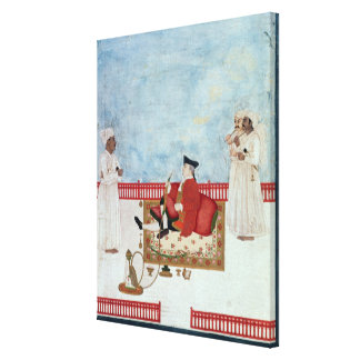 A European Seated on a Terrace with Attendants Canvas Print