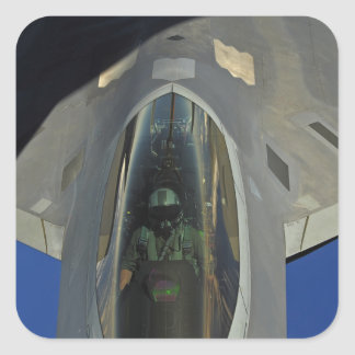 A F-22 Raptor receives fuel from a KC-135 Square Sticker