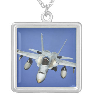 A F/A-18 Hornet participates in a mission Silver Plated Necklace