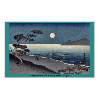 A fairy moon and a lonely shore  Ukiyoe Poster