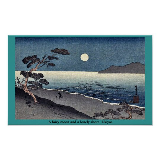 A fairy moon and a lonely shore Ukiyoe