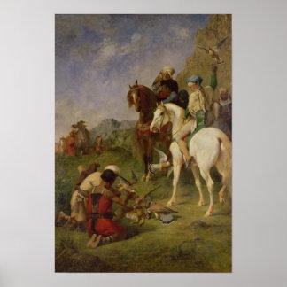 A Falcon Hunt in Algeria Poster