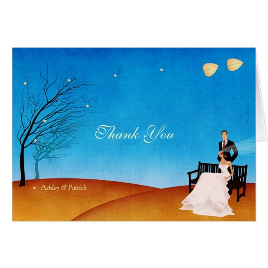 A Fall (in Love) Story Thank You Wedding Card
