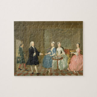 A Family Being Served with Tea, c.1740-45 (oil on Jigsaw Puzzle