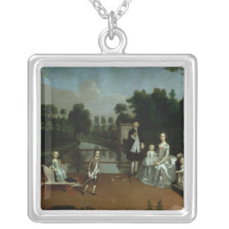 A Family Group on a Terrace in a Garden, 1749 Silver Plated Necklace