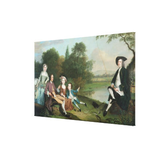 A family of Anglers, 1749 Canvas Print