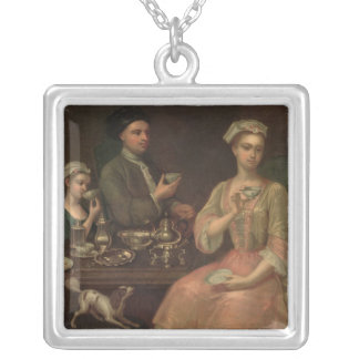 A Family of Three at Tea, c.1727 Silver Plated Necklace