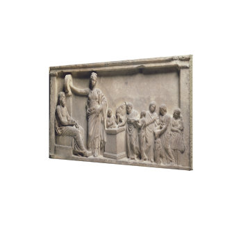 A family sacrificing a bull to Asclepius Canvas Print