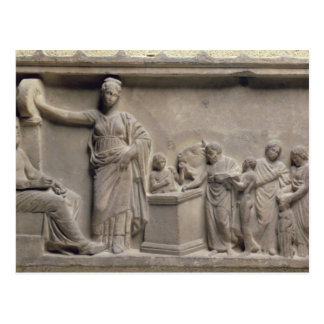 A family sacrificing a bull to Asclepius Postcard