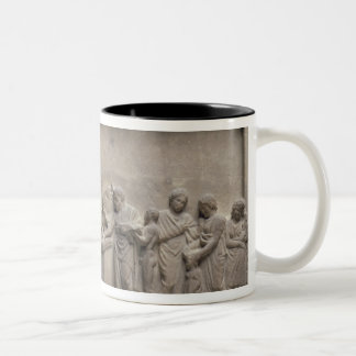 A family sacrificing a bull to Asclepius Two-Tone Coffee Mug