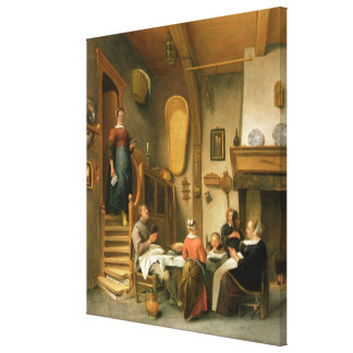 A Family Saying Grace Canvas Print