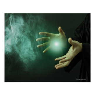 A fantasy wizard making magic with his hands. print