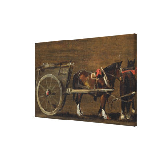 A Farm Cart with two Horses in Harness: A Study fo Canvas Print