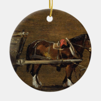 A Farm Cart with two Horses in Harness: A Study fo Christmas Ornament