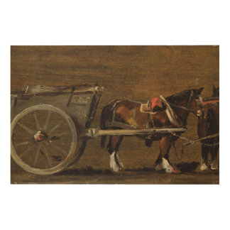A Farm Cart with two Horses in Harness: A Study fo Wood Print