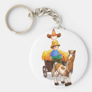A farmer riding a cart with a chicken above his he basic round button key ring