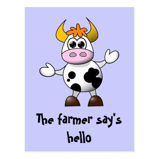 A Farmer says Hello Funny Cartoon Cow Postcard