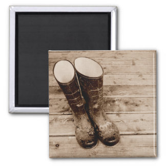 A Farmer's Muddy Rubber Boots Square Magnet