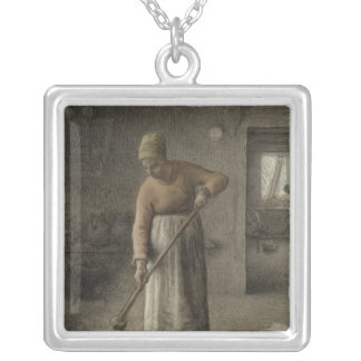 A Farmer's wife sweeping, 1867 Silver Plated Necklace
