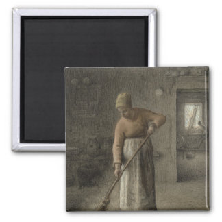 A Farmer's wife sweeping, 1867 Square Magnet
