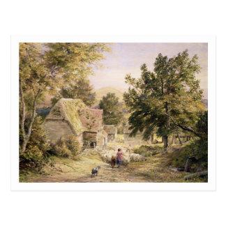 A Farmyard near Princes Risborough, 1845/6 (w/c on Postcard