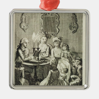 A Father Reading to his Family by Candlelight, eng Christmas Ornament