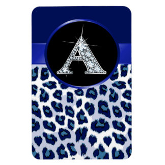 "A Faux-""Diamond Bling"" on Leopard Rectangular Photo Magnet"
