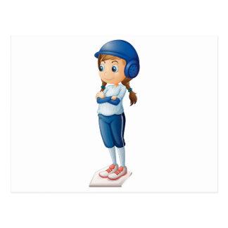 A female baseball player wearing a blue uniform postcard