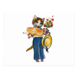 A Female Cat Bearing Flowers and Gifts Postcard