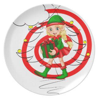 A female Santa elf Plates