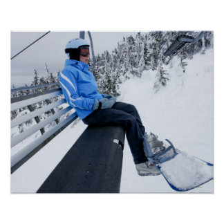 A female snowboarder rides the chair lift in New Poster