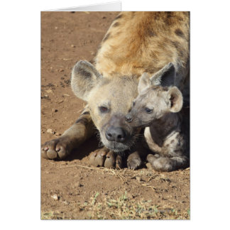 A female Spotted Hyena and her cub, Kruger Card
