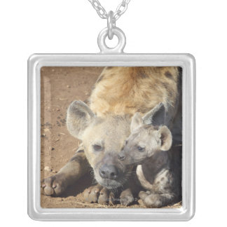 A female Spotted Hyena and her cub, Kruger Silver Plated Necklace